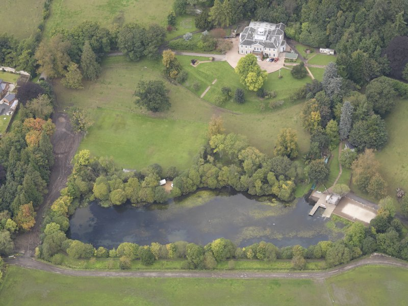 Oblique aerial view of Ballindean House, taken from the SE.