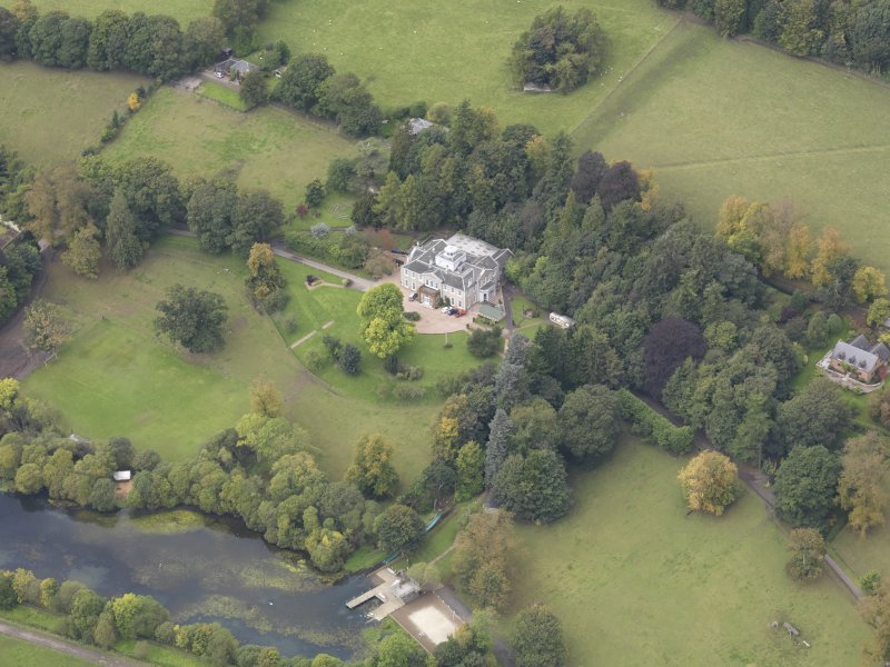 Oblique aerial view of Ballindean House, taken from the ESE.