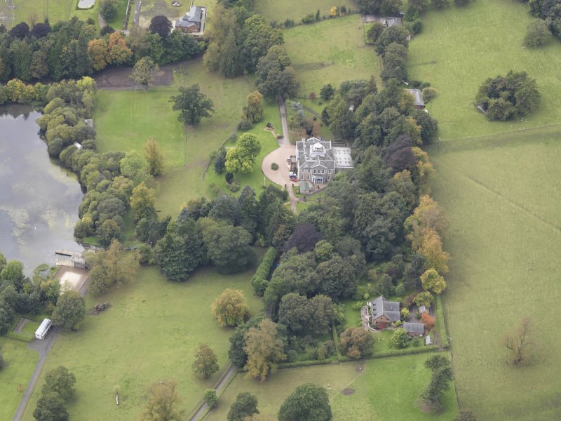 Oblique aerial view of Ballindean House, taken from the ENE.