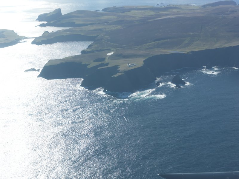 General oblique aerial view of Skroo Lighthouse, Fair Isle, looking S.