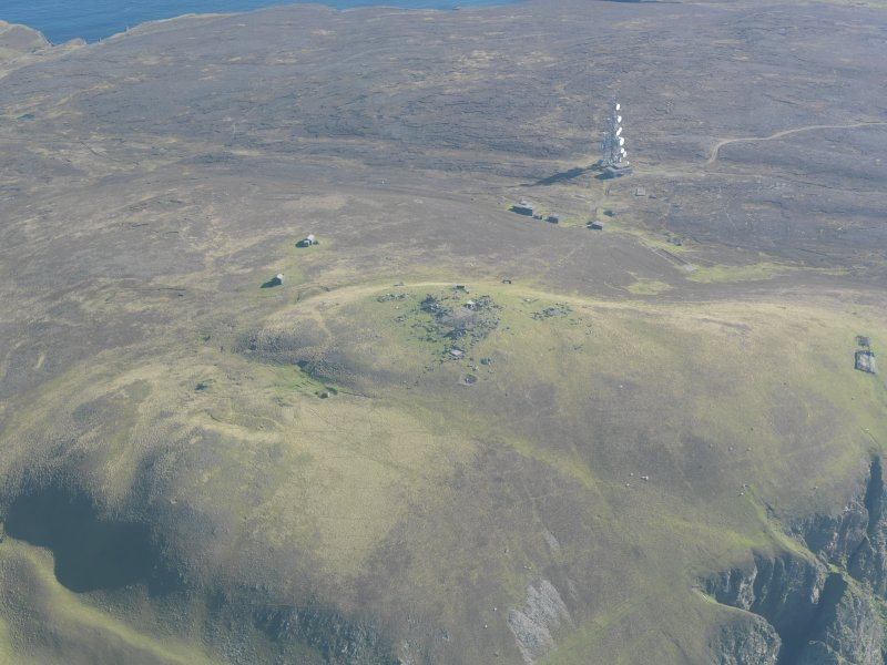 General oblique aerial view of Swey and Ward Hill, Fair Isle, looking SE.
