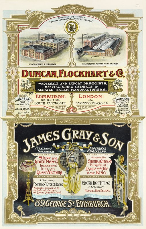 Advertisement for Duncan Flockhart & Co, 104,106, 108 Canongate, Edinburgh and James Gray & Son, 89 George Street, Edinburgh