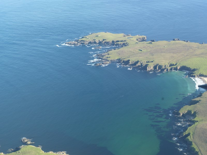General oblique aerial view of The Garths, Unst, looking SE.
