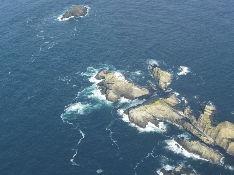 Oblique aerial view of North Unst Lighthouse, Muckle Flugga, Unst, looking NE.