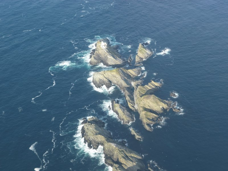 Oblique aerial view of North Unst Lighthouse, Muckle Flugga, Unst, looking NNE.