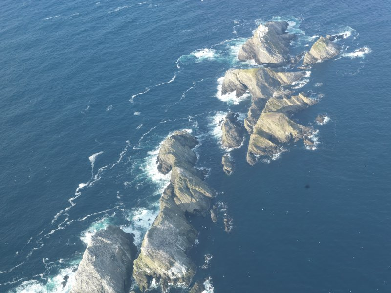 Oblique aerial view of North Unst Lighthouse, Muckle Flugga, Unst, looking N.