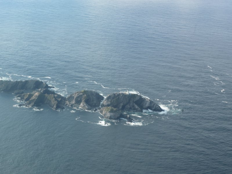 General oblique aerial view of North Unst Lighthouse, Muckle Flugga, Unst, looking NW.