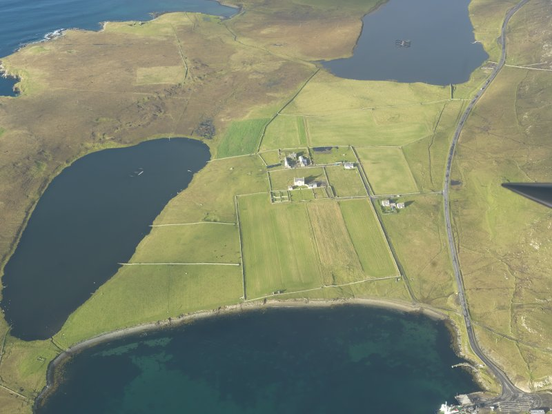 General oblique aerial view of Belmont House, Unst, looking N.