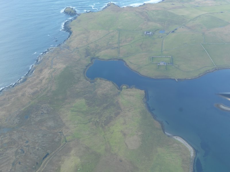 General oblique aerial view of West Sandwick House, North Haa, Unst, looking N.