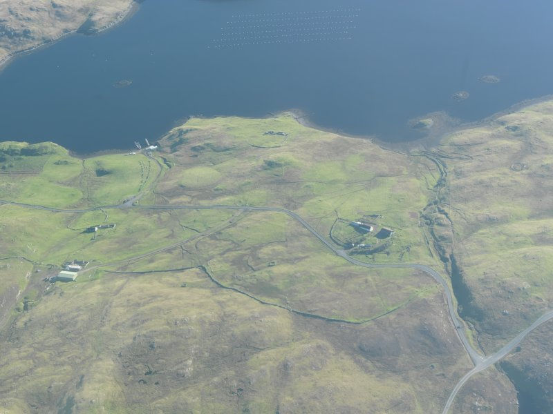 General oblique aerial view of Brindister, Middisfirth, looking E.