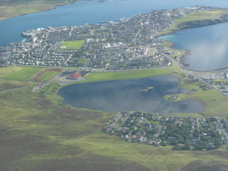 General oblique aerial view of Clickimin, Lerwick, looking E.