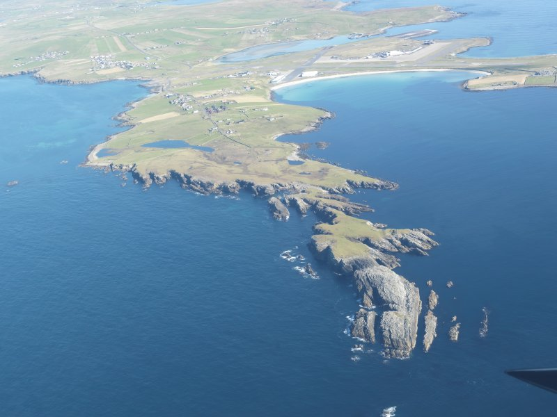 General oblique aerial view of Scat Ness, looking NE.