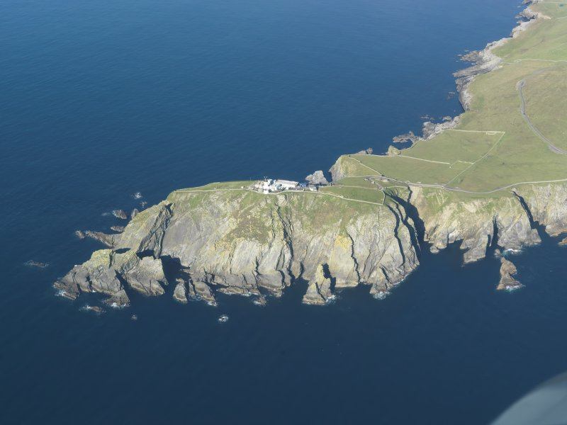 Oblique aerial view of Sumburgh Lighthouse, looking NW.
