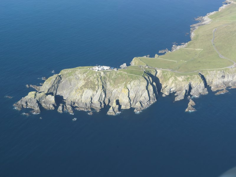 Oblique aerial view of Sumburgh Lighthouse, looking W.