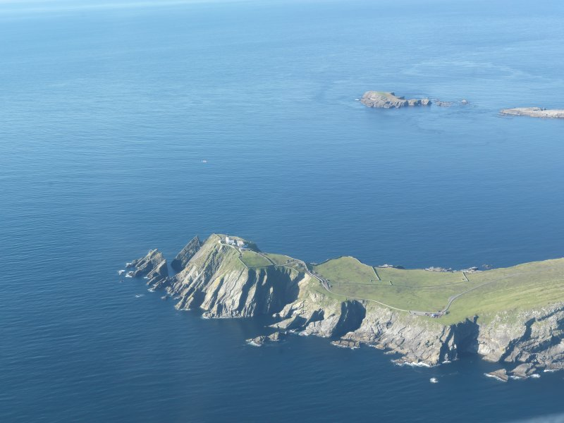 Oblique aerial view of Sumburgh Lighthouse, looking SW.