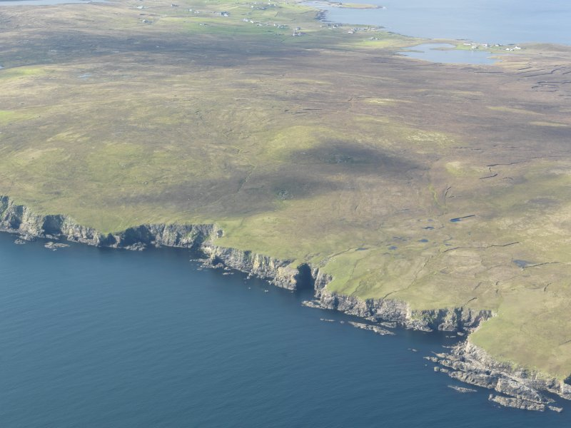 General oblique aerial view of Mid Breck, Whalsay, looking SW.
