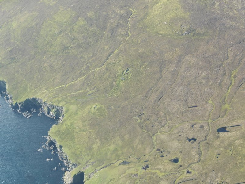 General oblique aerial view of Benie Hoose, Whalsay, looking SSW.
