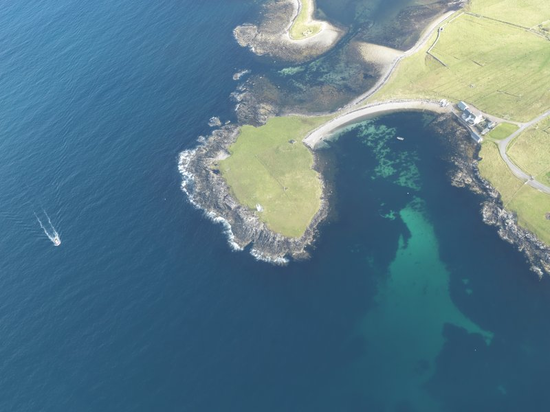 Oblique aerial view of Suther Ness Lighthouse, looking NE.