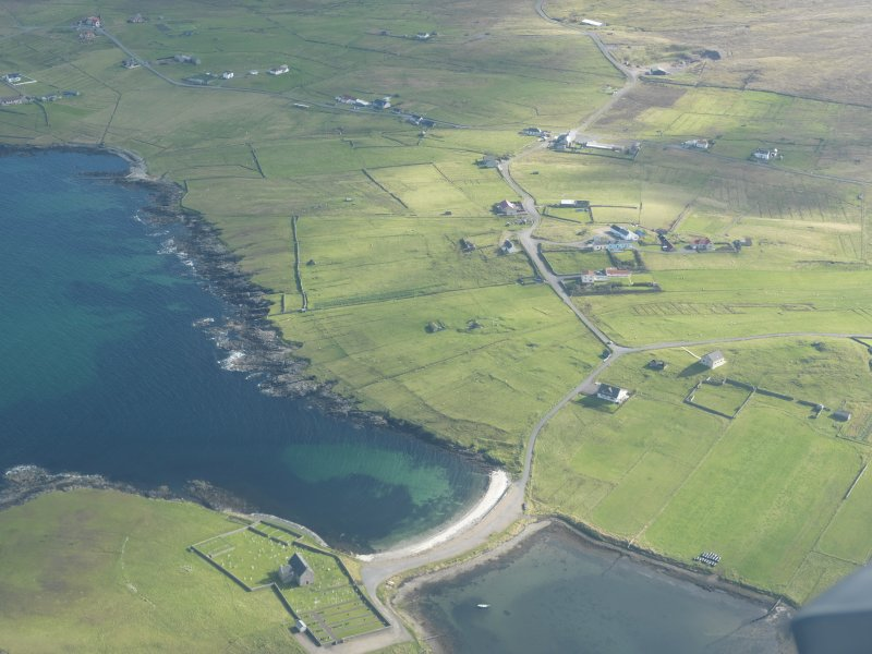 Oblique aerial view of Brough, Whalsay, looking SE.