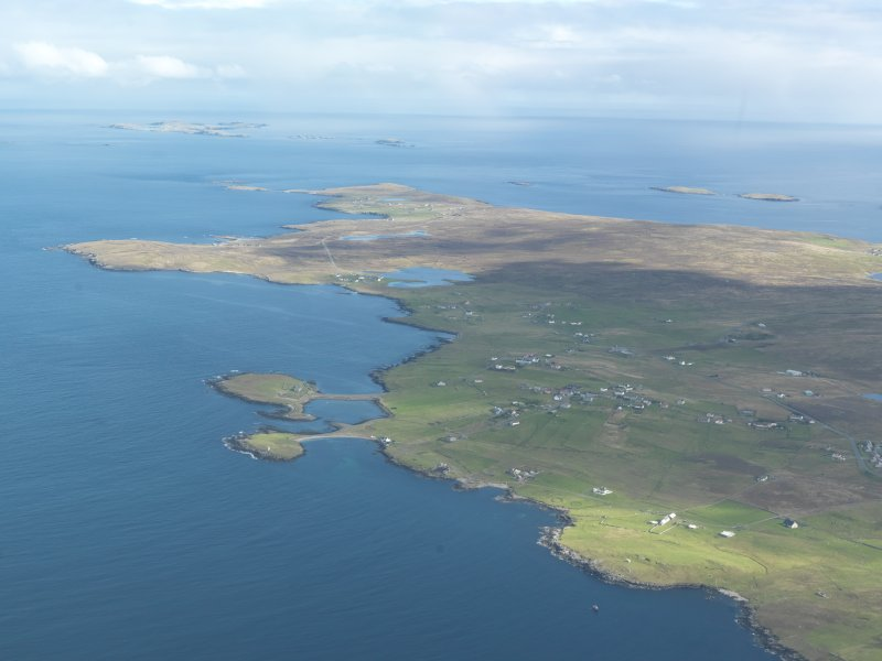 Oblique aerial view of Brough, Whalsay, looking NE.