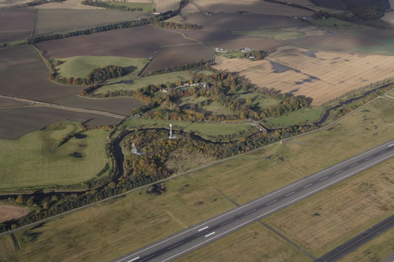 General oblique aerial view of Carlowrie Country House with the runway in the foreground, looking NNE.