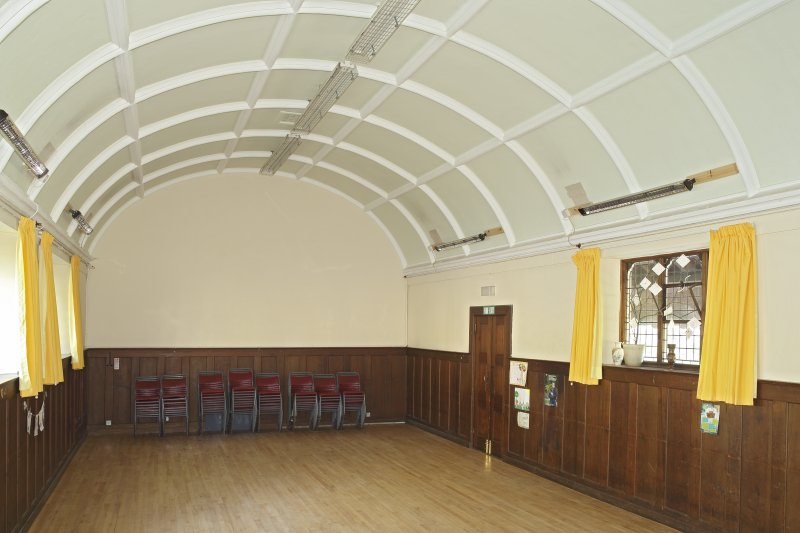Interior. Main church hall, view from north east showing barrel roof