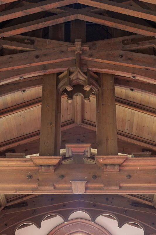 Interior. Detail of roof structure showing empty niche