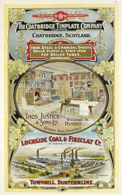 Advertisement for The Coatbridge Tinplate Company, Coatbridge, Thomas Justice & Sons, Whitehall Street, Dundee and Lochside Coal & Fireclay Company, Townhill, Dunfermline
