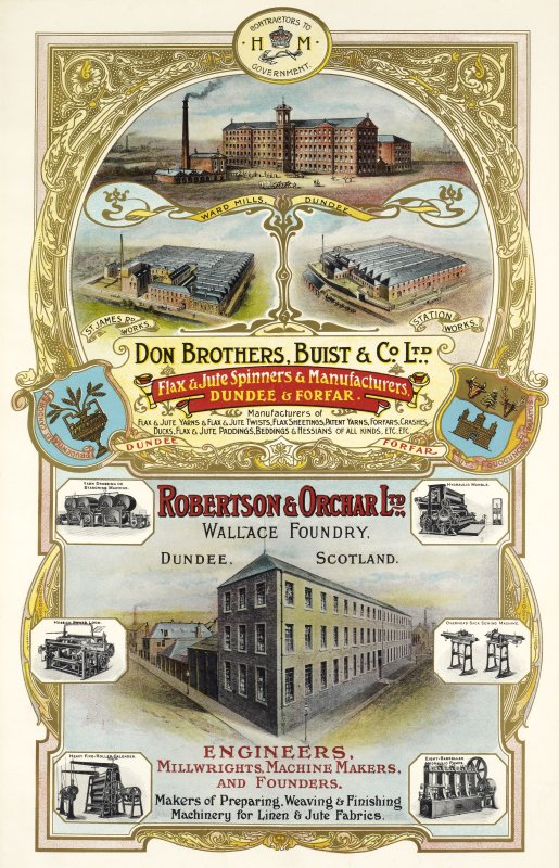 Advertisement for Don Brothers, Buist & Co, Ward Mills, Dundee and Robertson & Orchar Ltd, Wallace Foundry, Dundee, Scotland