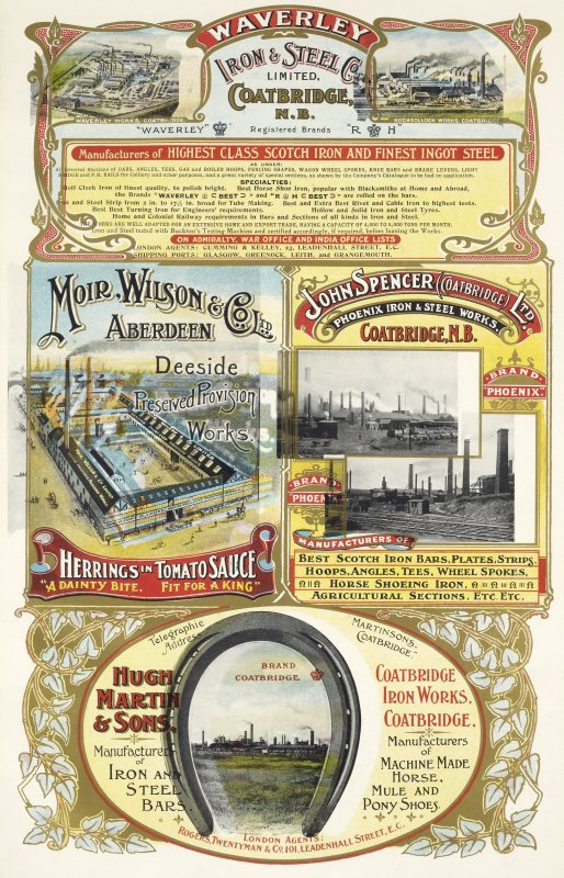 Advertisement for Waverley Iron & Steel Co Ltd and Rochsollloch Works Coatbridge, Moir, Wilson & Co Ltd, Aberdeen Deeside Preserved Provision Works and Hugh Martin & Sons, Coatbridge Ironworks, Coatbr ...