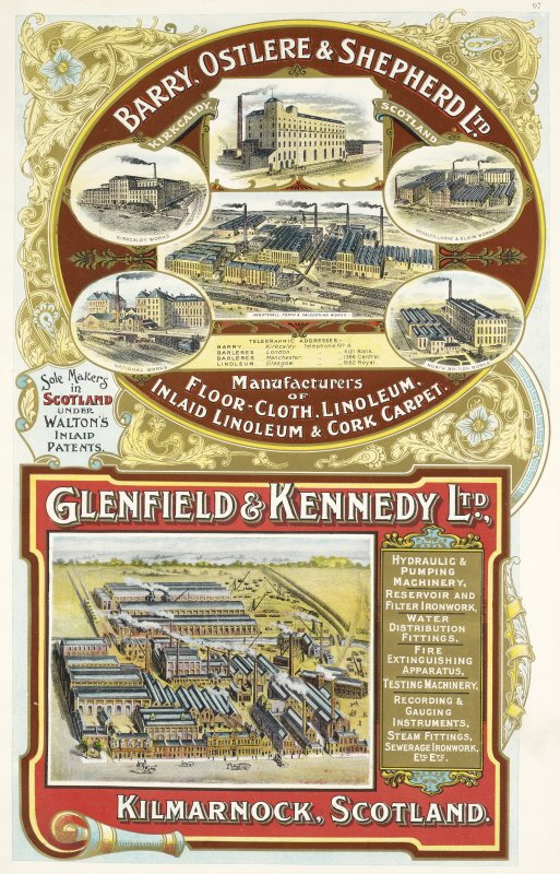 Advertisement for Barry, Ostlere & Shepherd Ltd, Kirkcaldy Scotland and Glenfield & Kennedy Ltd, Kilmarnock, Scotland
