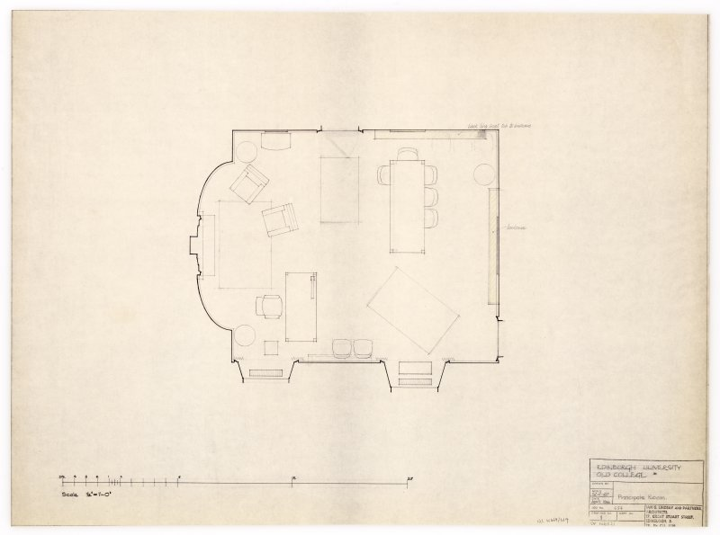 Floor plan showing proposed layout of furniture in principal's room. Title: Edinburgh University Old College