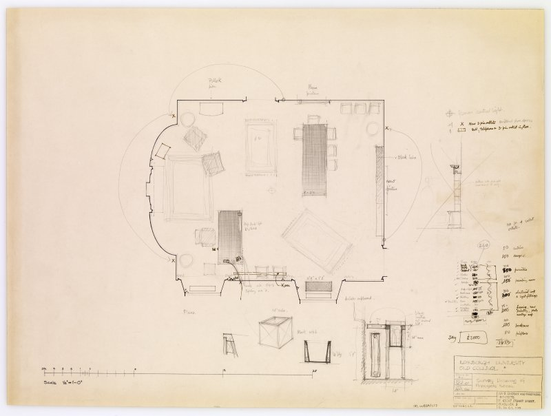 Survey showing proposed layout of furniture in principal's room.  Includes side elevation of drinks cupboard and estimated costs of furniture. Title: Edinburgh University Old College