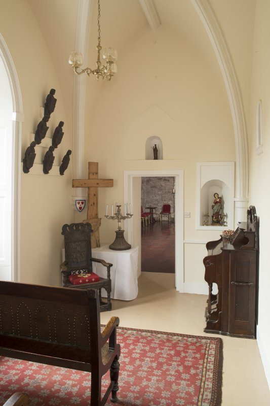 Ground floor. Chapel to west of entrance hall from east.