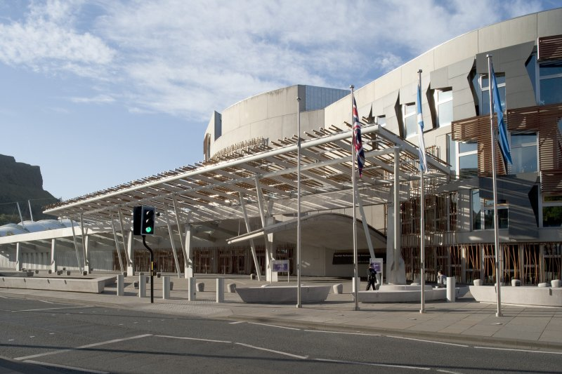 View looking south-west across Queen's Drive and the entrance plaza towards the main entrance of the Scottish Parliament