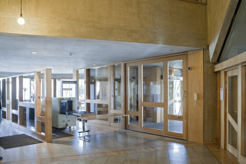 View of the security facility within the public entrance foyer of the Scottish Parliament