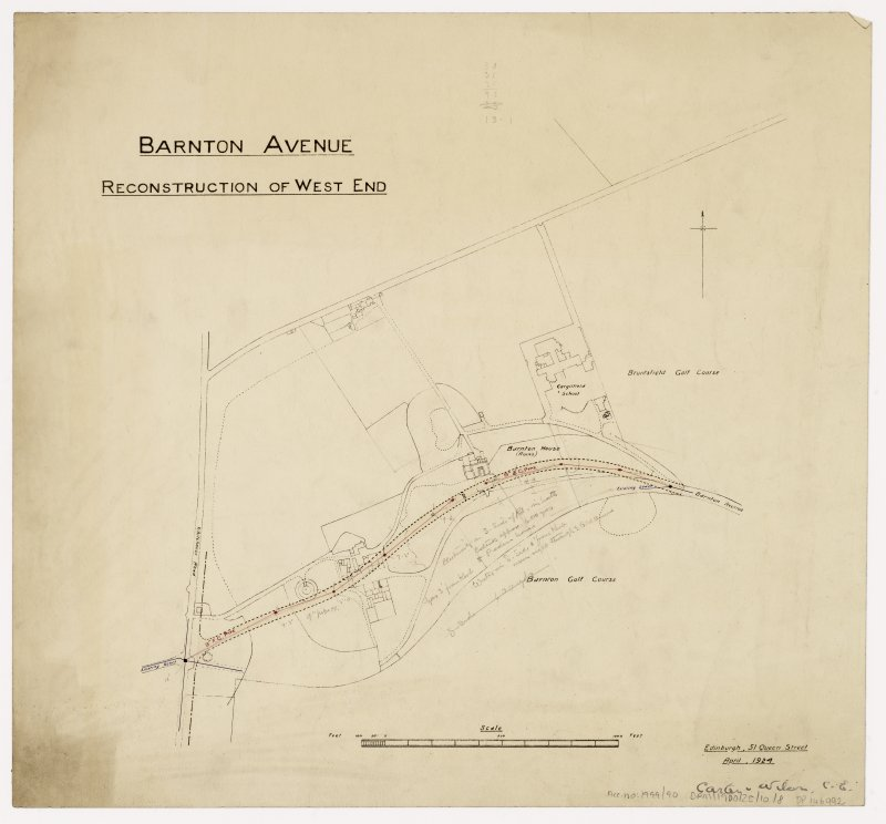 Site plan of area round Barton Avenue. Title: Barton Avenue.  Reconstruction of West End