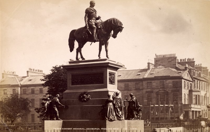 General view of Albert Memorial, Charlotte Square, Edinburgh from the west, showing scaffolding on nearby building. Titled: 'Prince Consort Memorial, Edinburgh, from the west 1176. G.W.W.' Page 21/2  General view insc: 'Prince Consort Memorial, Edinburgh, from the west' PHOTOGRAPH ALBUM NO.195: PHOTOGRAPHS BY G W WILSON & CO