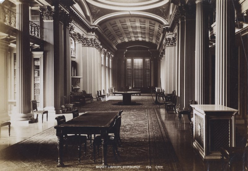 View of interior of Signet Library, Parliament Square, Edinburgh. Titled: 'Signet Library, Edinburgh. 194. G.W.W.' Titled: 'Signet Library, Edinburgh'. PHOTOGRAPH ALBUM NO.195: PHOTOGRAPHS BY G W WILSON & CO.