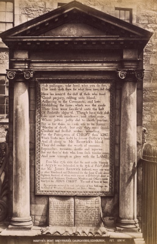 Detail of Martyr's Monument, Greyfriars Churchyard, Edinburgh, showing inscription.  Titled: 'Martyr's Monument, Greyfriar's Churchyard, Edinburgh.197 G.W.W.' PHOTOGRAPH ALBUM NO. 195: PHOTOGRAPHS BY G.W. WILSON AND CO.