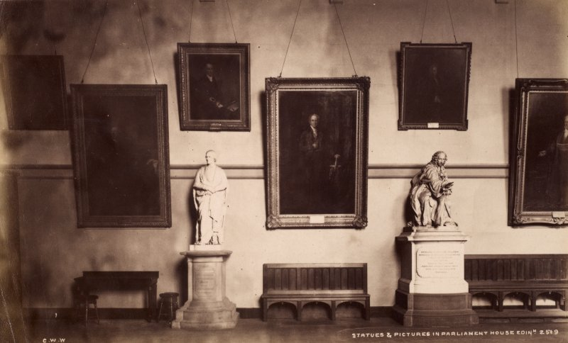 Interior view in Parliament House, Edinburgh showing pictures and statues. Titled: 'Statues and pictures in Parliament House, Edin. 2519.'