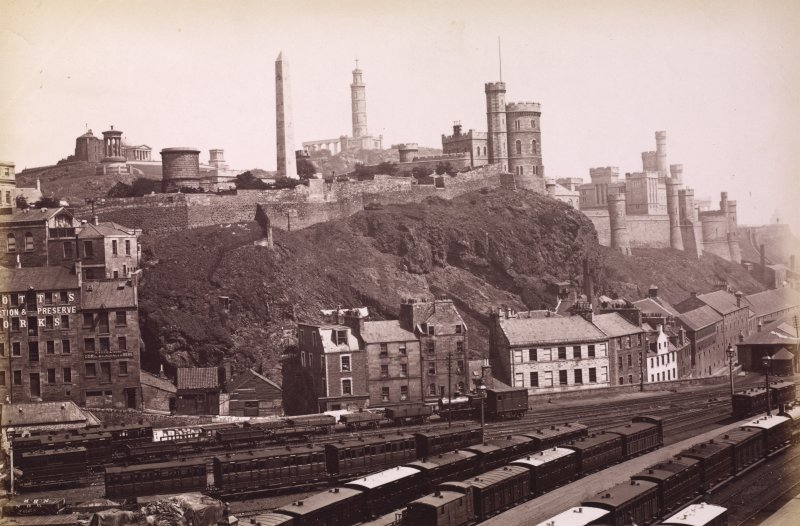 View from North Bridge, Edinburgh, across rail lines of  Waverley Station to Calton Hill. Not titled. Photograph Album 195  Photographs by G W Wilson & Co