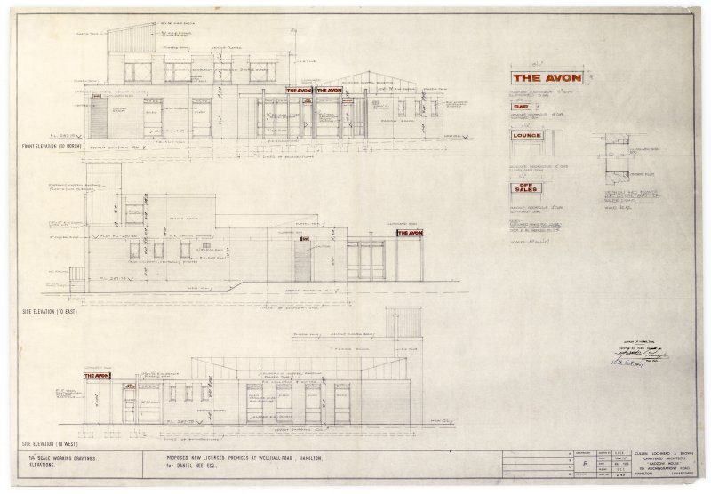 Elevations and details of sign for proposed licensed premises, The Avon, Wellhall Road, Hamilton
