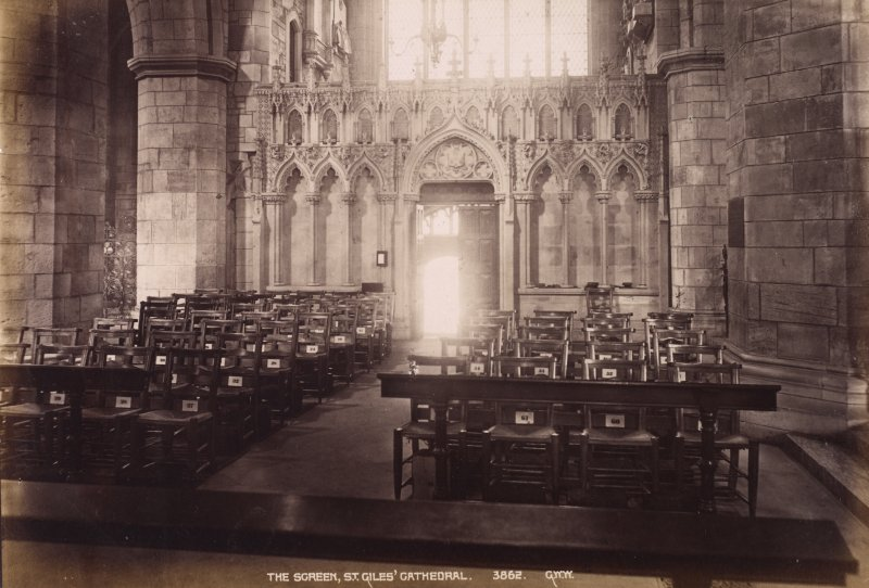 "Edinburgh, St Giles' Cathedral, Interior view, titled: ""The Screen, St. Giles' Cathedral. 3862. G.W.W."" PHOTOGRAPH ALBUM No.195: George Washington Wilson Album, p.56. PHOTOGRAPH ALBUM NO 195: Photographs by G.W.Wilson & Co"