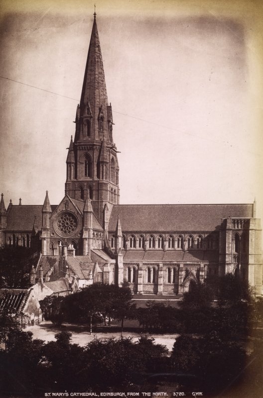Edinburgh, Palmerston Place, St Mary's Cathedral. General  view from North. Titled: ' St. Mary's Cath. Edinburgh, 3720. G.W.W.' PHOTOGRAPH ALBUM N0.195: George Washington Wilson Album, p.58.