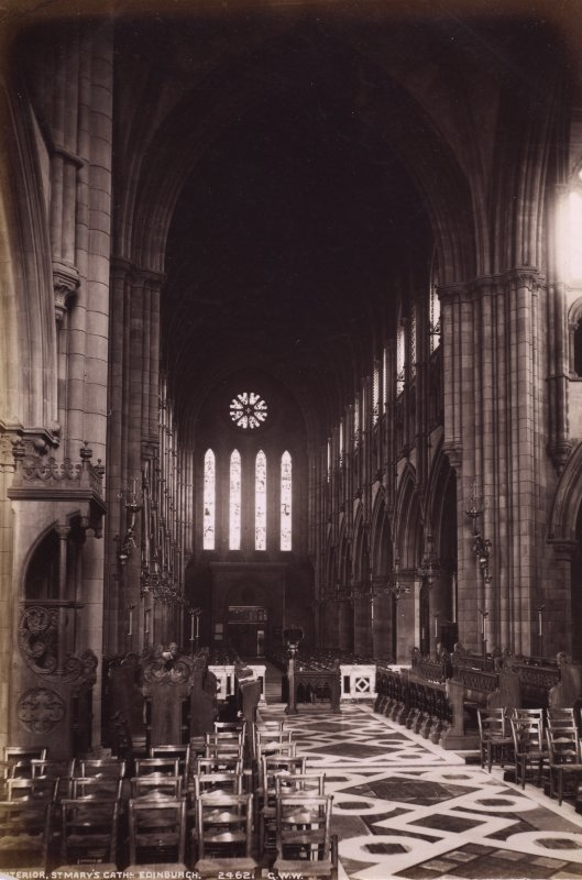 Edinburgh, Palmerston Place, St Mary's Episcopal Cathedral, interior from the west. Titled: 'St Mary's Cathedral, Edinburgh 2462 G.W.W' PHOTOGRAPH ALBUM NO.195: PHOTOGRAPHS BY G W WILSON & CO