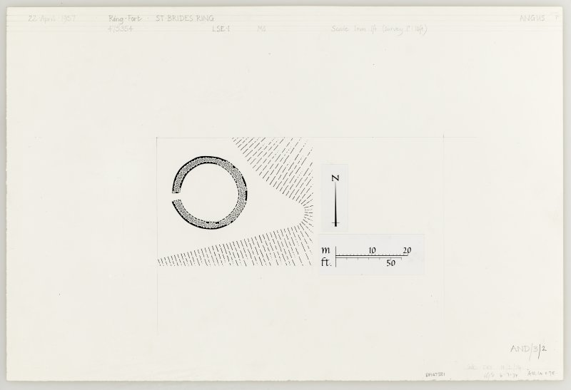 Inked plan, based on 1957 survey. St Bride's Ring, settlement.