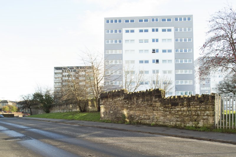 General view of the perimeter walls of the former Maryhill Barracks site, taken on Kelvindale Road from the west.