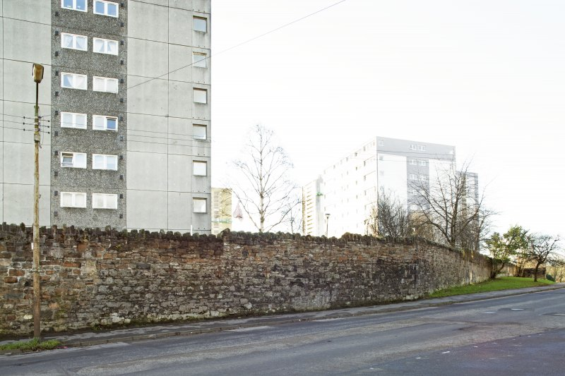 General view of the perimeter walls of the former Maryhill Barracks site, taken on Kelvindale Road from the east.