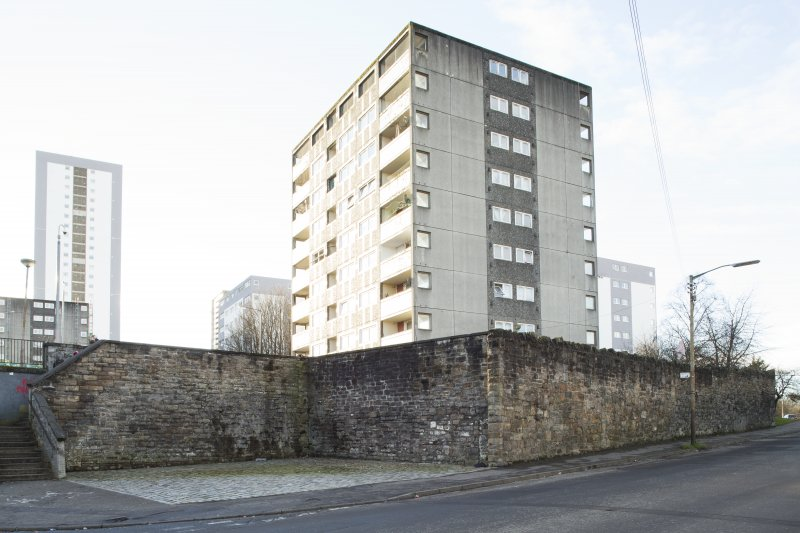 General view of the perimeter walls of the former Maryhill Barracks site, taken on Kelvindale Road from the north.